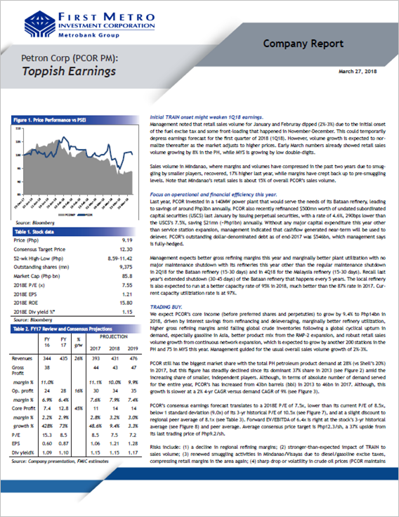 Petron Corp (PCOR PM): Toppish Earnings